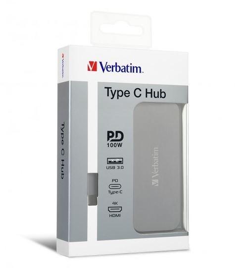 Verbatim Type C Hub With Type C PD, Hdmi, 2X Usb3.0 - Grey