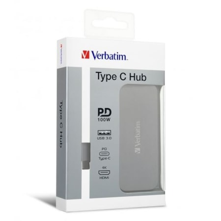 Verbatim Type C Hub With Type C PD, Hdmi, 2X Usb3.0 - Grey