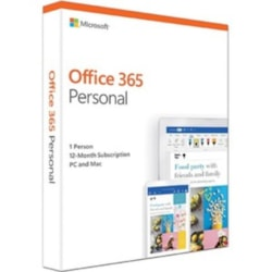 Microsoft Office 365 Personal, License Software, 1 Year Subscription, 1 Device, 32Bit/64Bit, Medialess, PC Or Mac