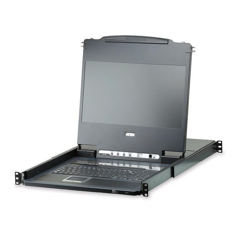 "Aten Rackmount Usb Dvi Single Rail 17.3"" Widescreen Full HD LCD KVM 8-Port Switch"