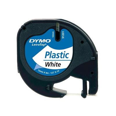 Dymo Letratag Plastic Tape/12Mmx4m/Pearl WHT