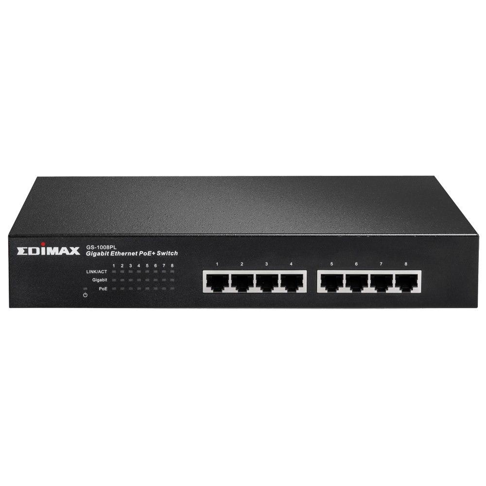 Edimax 8-Port Gigabit PoE+ Switch (8 PoE+ Ports, 80W) Fan-Less