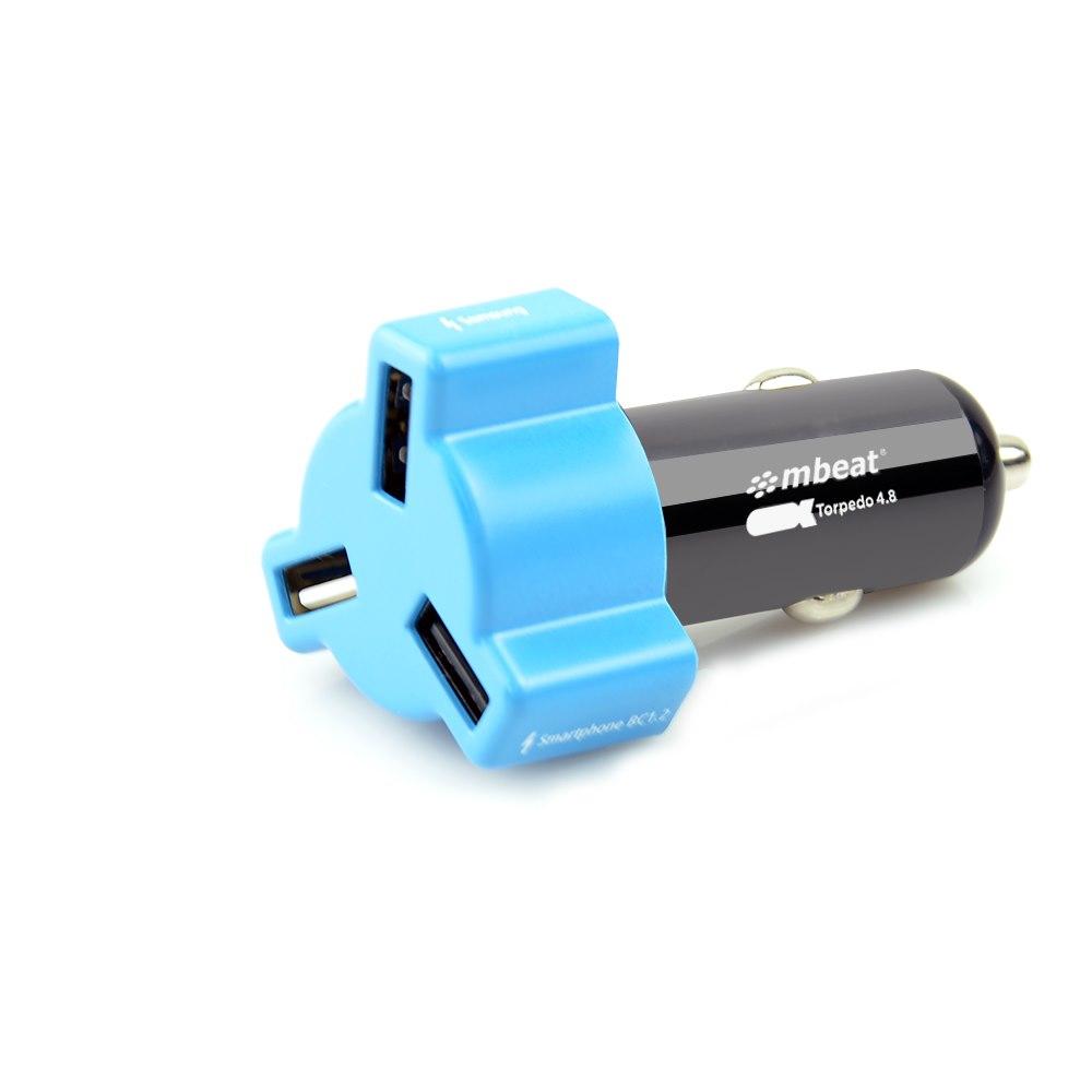 Mbeat® 4.8A 24W Triple-Port Rapid Blue Car Charger