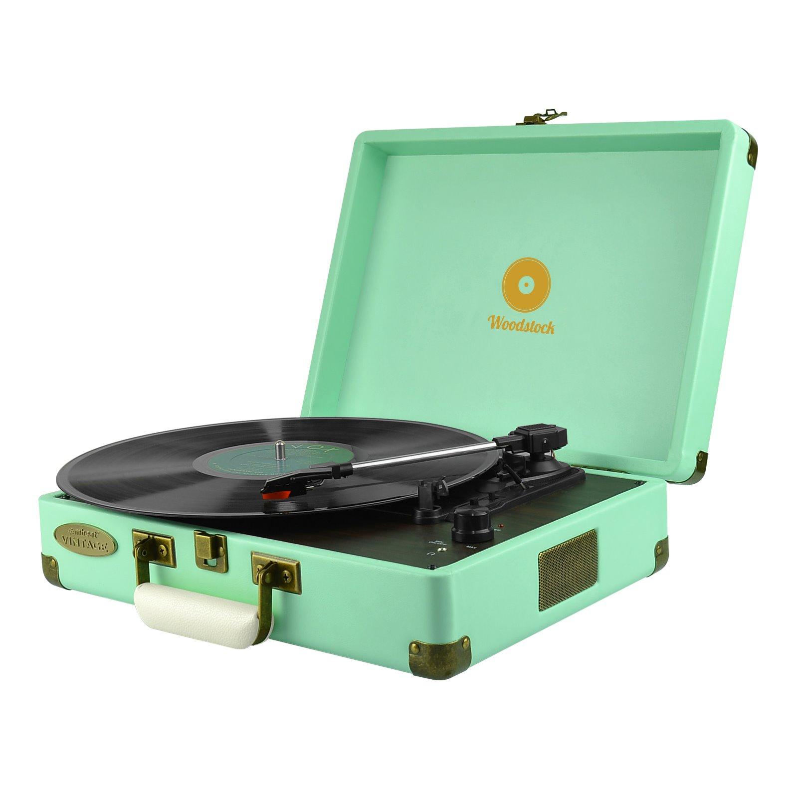 Mbeat® Woodstock Retro Turntable Player – Tiffany Blue
