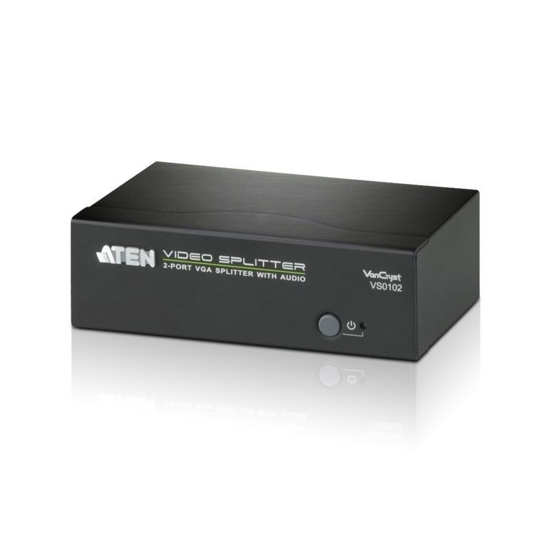 VanCryst Aten VS0102 2-Port Vga Splitter With Audio, Up To 1920X1440, 450MHz Video Bandwidth
