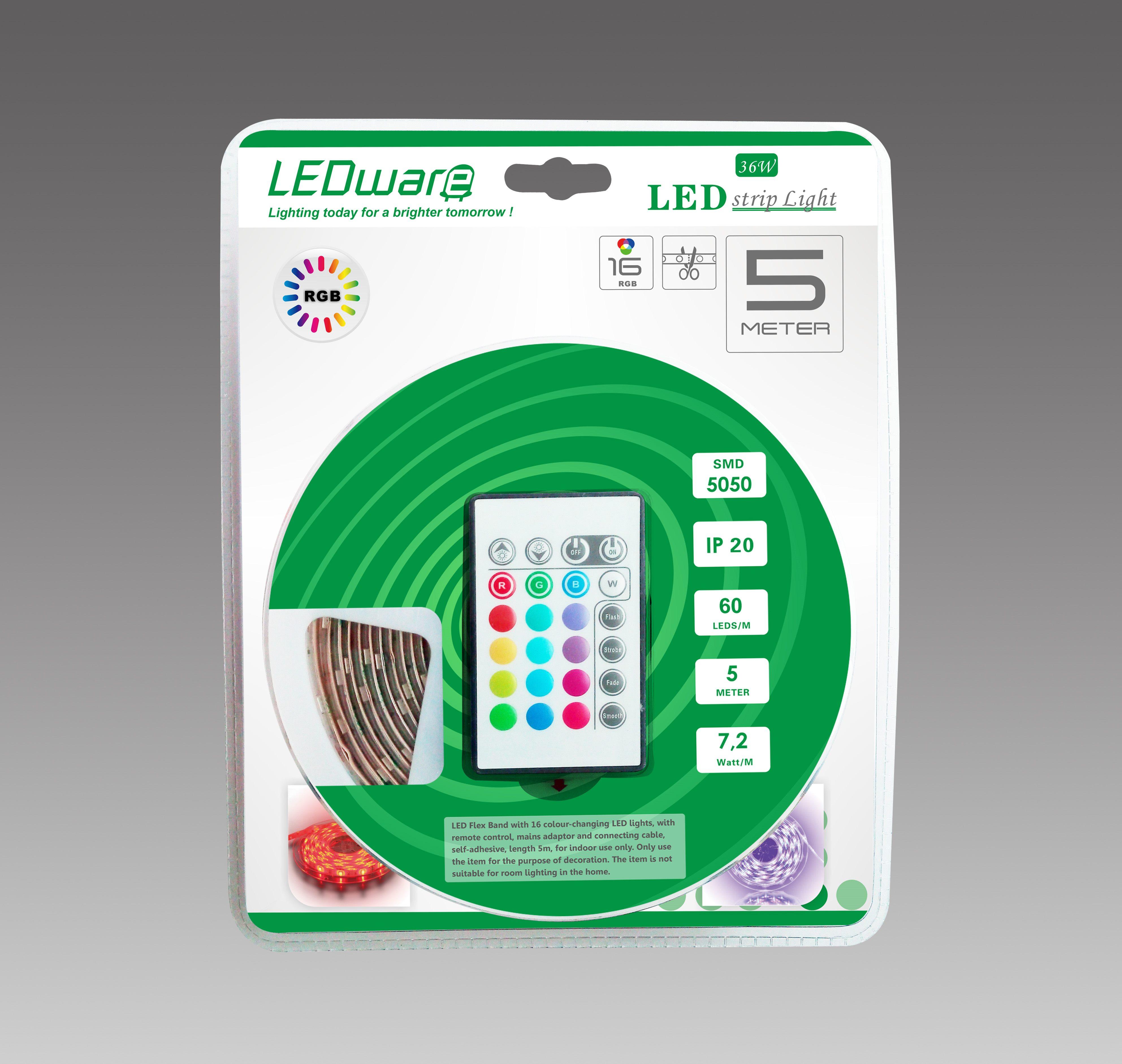LEDware Led Flex Ribbon Strip Kit 12V 5M RGB LED/m Inc. Power Adapter &Amp; Remote