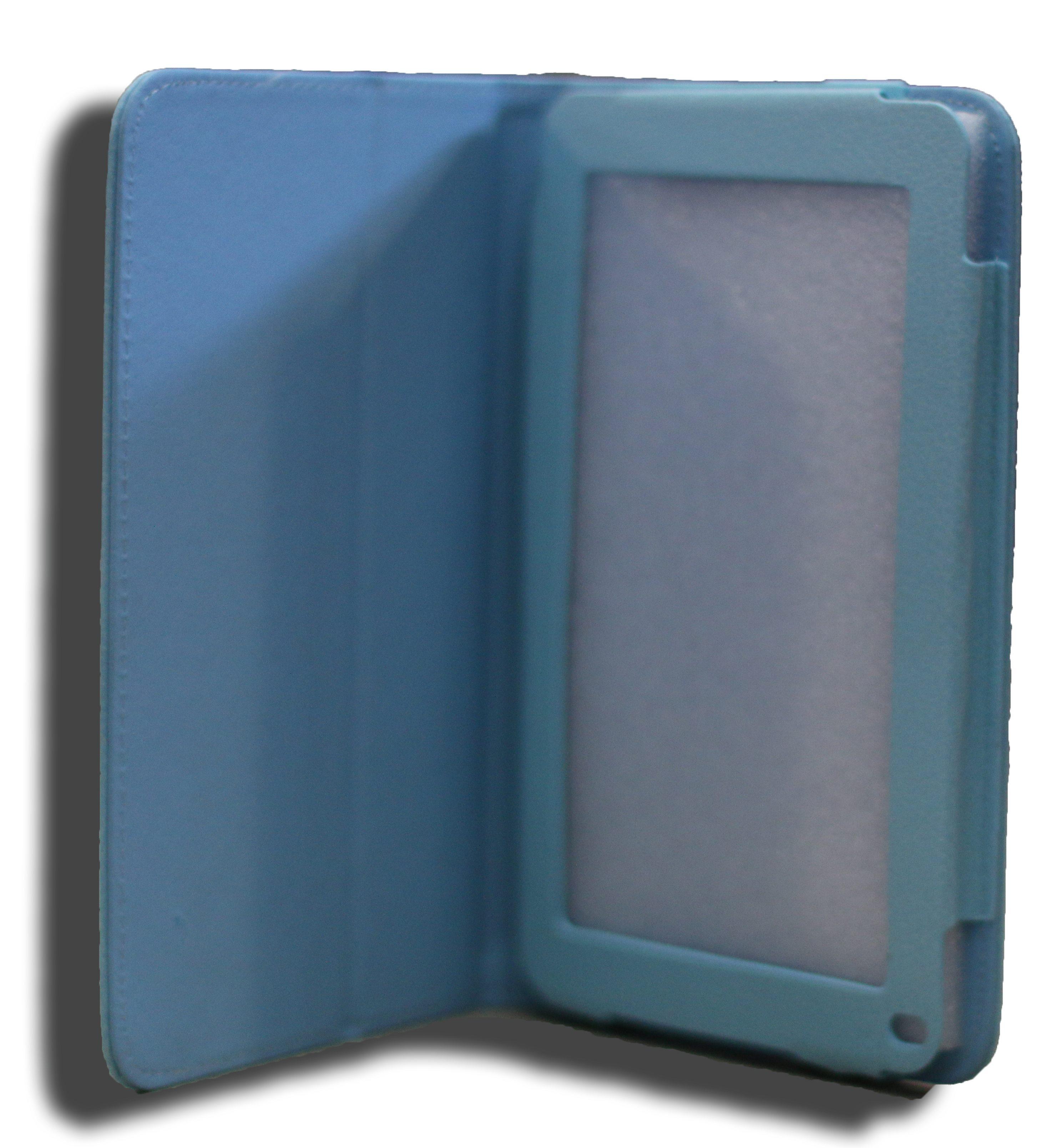 LeaderTab7 Folio Case Blue Faux Leather. Camera Hole Rear