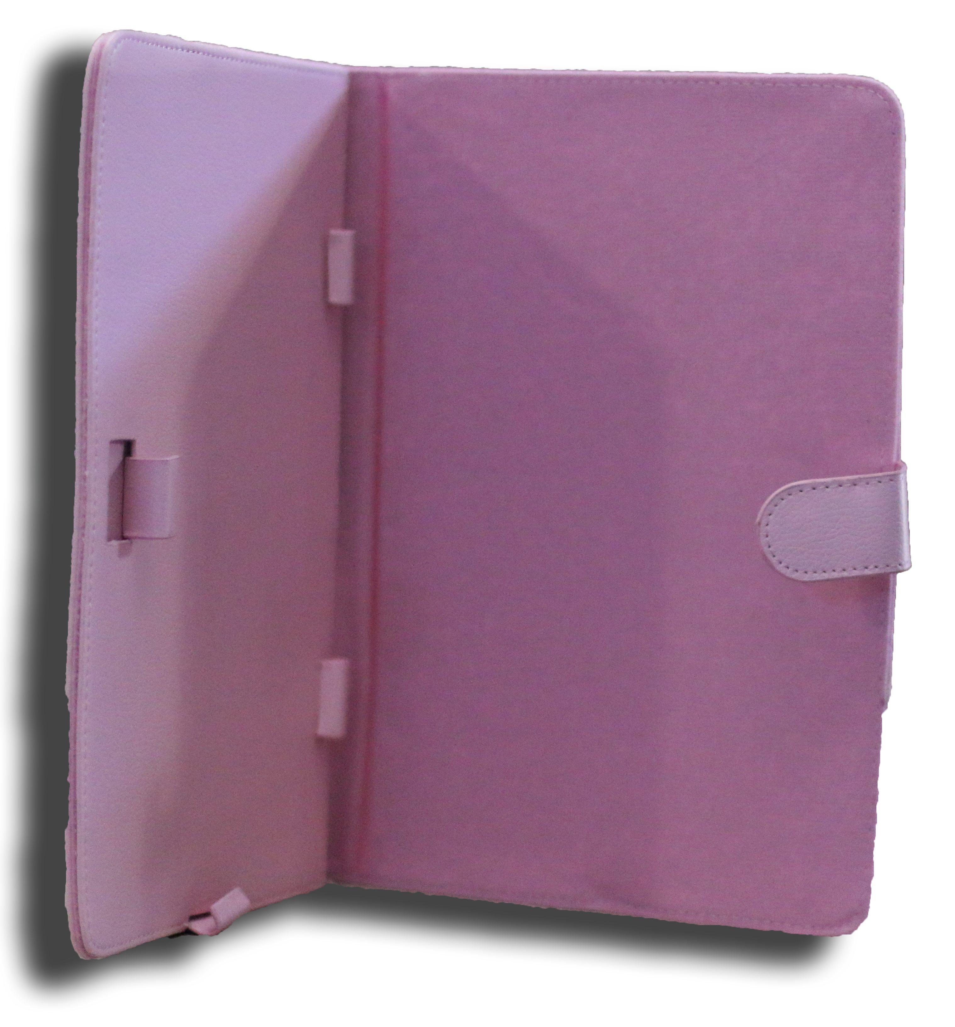 LeaderTab7 Folio Case Pink Faux Leather. Camera Hole Rear