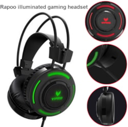 Rapoo VH200 Illuminated RGB Glow Gaming Headphones - 16M Colour Breathing Light, Hidden Noise-Cancelling Microphones