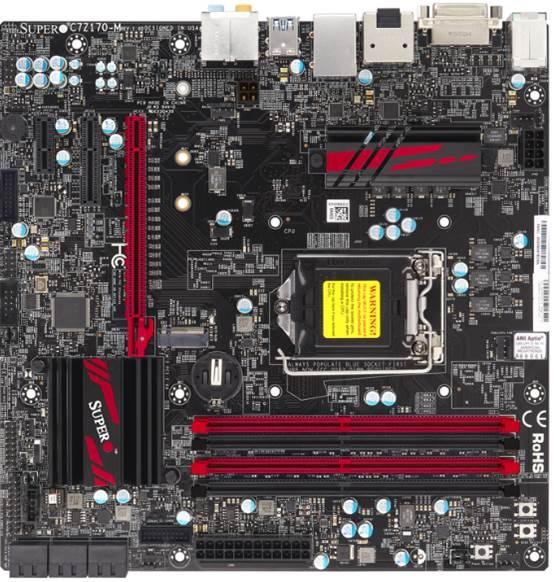 Supermicro H170, 4X DDR4, Sata Raid, M.2, 7.1 Audio, Dvi-D, DP, Hdmi, Matx