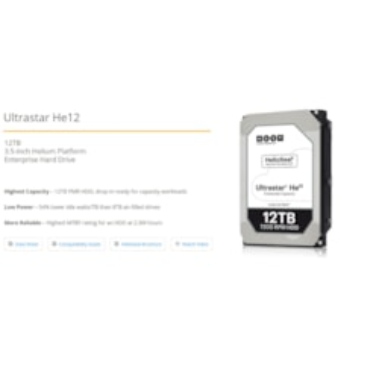 HGST 3.5' 12TB 256MB 7200RPM He12, Sata Ultra 512E Ise, Huh721212ale600 - 5YRS Warranty - Hitachi