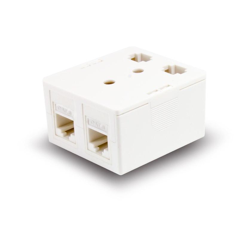 Serveredge 2 Way Cat6 Surface Mount Box With Keystone Jack - White