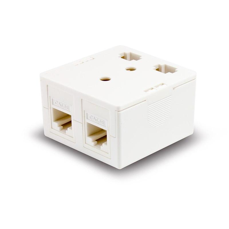 Serveredge 2 Way CAT5e Surface Mount Box With Keystone Jack - White