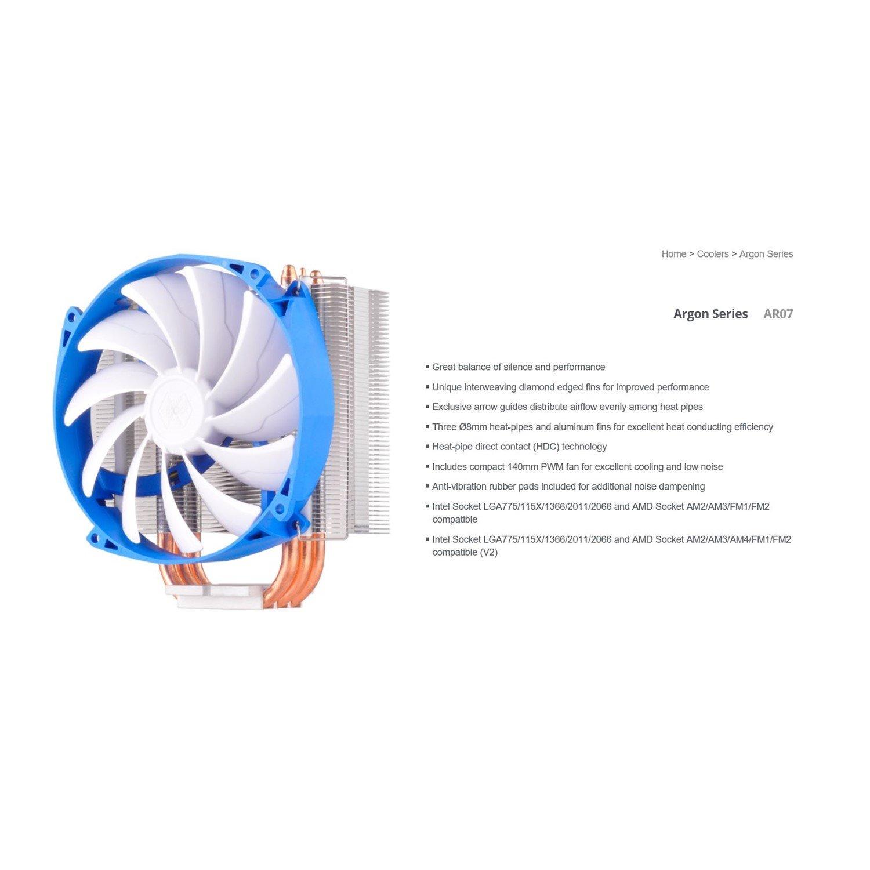 Silverstone Ar07 14CM PWM 3 Heatpipe Cpu Cooler, Compatible 2011, 2066, 1150, 1151, 1155, FM2, Am4