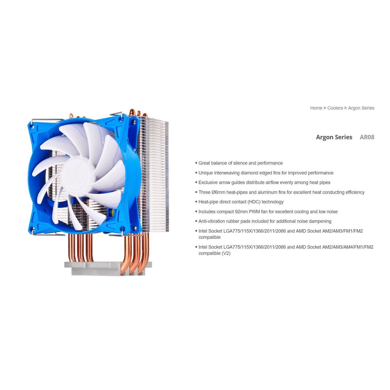 Silverstone Ar08 92MM PWM 3 Heatpipe Cpu Cooler, Compatible 2011, 2066, 1150, 1151, 1155, FM2, Am4
