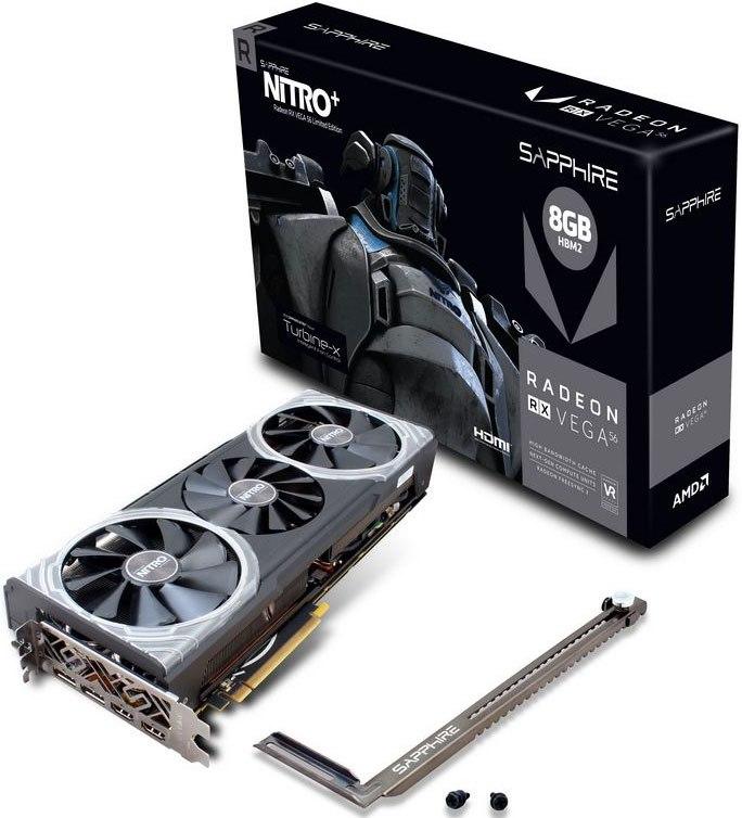 Sapphire Amd Nitro+ RX Vega 56 8GB Gaming Video Card Limited Edition - HBM2 2Hdmi/2Dp 1305/1572MHz Vapox-X Cooler