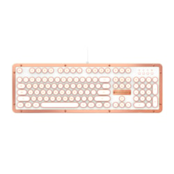 Azio MK Retro Classic Vintage Typewriter Backlit Mechanical Keyboard In Copper Alloy Trim And White