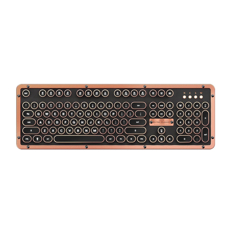 Azio MK Retro Classic BT Vintage Typewriter Bluetooth Backlit Mechanical Keyboard (Artisan)