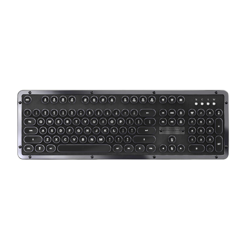Azio MK Retro Classic BT Vintage Typewriter Bluetooth Backlit Mechanical Keyboard (Onyx)