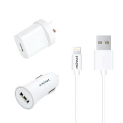 Mbeat 3-In-1 Mfi Usb Lightning Charging Kit (1M Lighting To Usb Cable + 2.1A Car &Amp; Wall Charger)