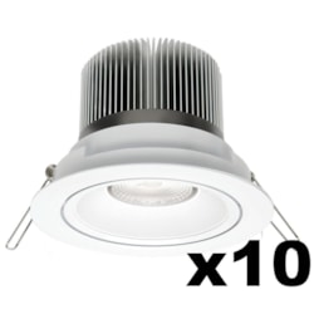 LEDware Omnizonic Led 10 Pack - Downlight 12W (600Lm) 3000K Warm White