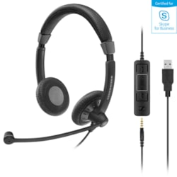 Stereo corded headset with 3.5 mm four-pole jack, plus detachable USB cable with call control. Noise cancel mic, Wideband sound, flexible boom mic, lightweight padded headband