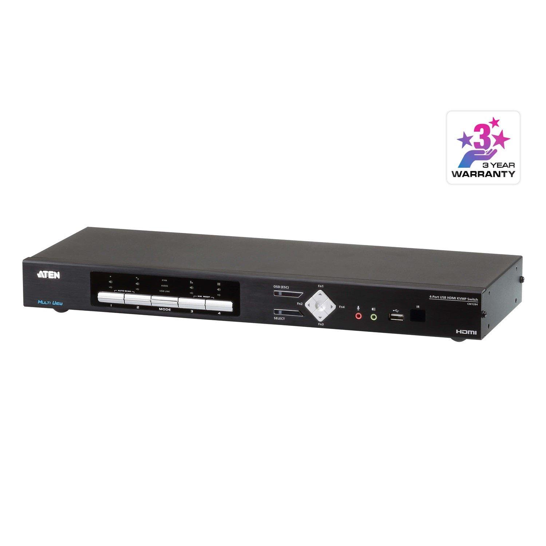 Aten 4-Port 4K Hdmi Multi-View KVMP Switch Cables Included