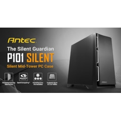 Antec P101 Silent Atx, E-Atx Case, 1X 5.25', 2X 2.5' SSD, 8X 3.5' HDD. Vga Up To 450MM, Cpu Height 180MM. Psu 290MM. Two Years Warranty