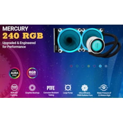 Antec Mercury 240 RGB Liquid Cpu Cooler, Large Pump, Efficient PWM Radiator Fan, Graphite Bearings, Lga 2066, 2011, Am4, FMx, 5 YRS Warranty