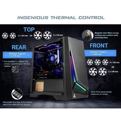 Antec DP301M Matx, Argb Front Led, Tempered Glass Side, Up To 6X 120MM Fans, Dust Filter, Gaming Case. 2 Years Warranty