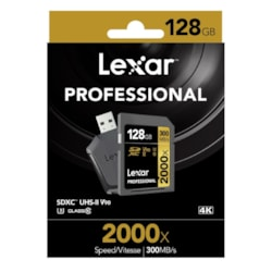 Lexar Professional 2000X 128GB SDXC Uhs-Ii Card - Up To 300MBs Read/U3 C10 V90/Usb 3.0 Reader/SD Uhs-Ii Reader/1080P HD/3D/4K Video (Lsd128crbap2000r)