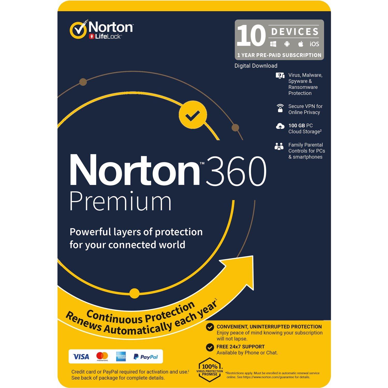 Norton 360 Premium, 100GB, 1 User, 10 Devices, 12 Months, PC, Mac, Android, Ios, DVD