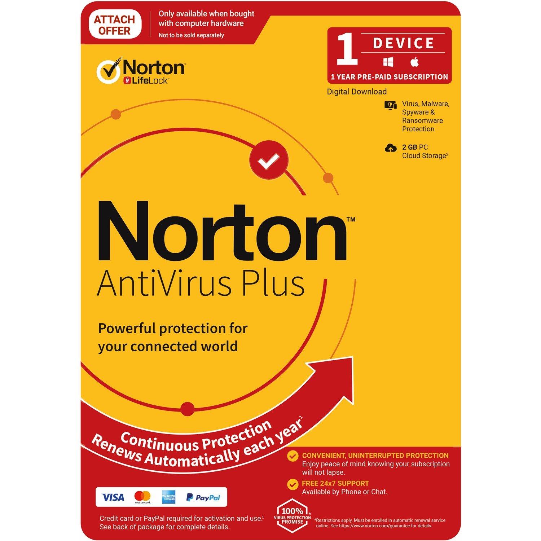 Norton Anti Virus Plus, 2GB, 1 User, 1 Devices, 12 Months, PC, Mac, Android, Ios, DVD