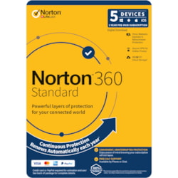 Norton 360 Standard, 10GB, 1 User, 5 Devices, 12 Months, PC, Mac, Android, Ios, DVD