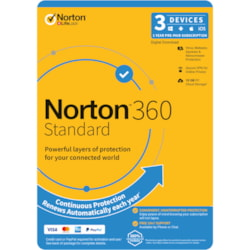 Norton 360 Standard, 10GB, 1 User, 3 Devices, 12 Months, PC, Mac, Android, Ios, DVD
