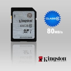 Kingston 64GB SD Card SDHC/SDXC Class10 Uhs-I Flash Memory 45MB/s Read 10MB/s Write Full HD For Photo Video Camera Waterproof Shock Proof