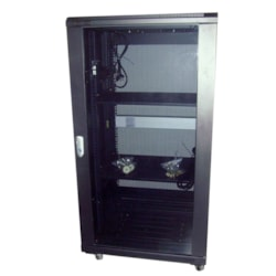 LinkBasic 22Ru 800MM Depth Server Rack Glass Door With 4 X 240V Fans And 8-Port 10A Pdu