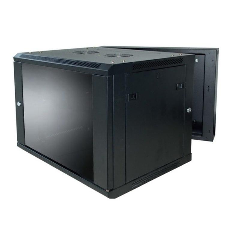 LinkBasic 9U, 600X550X501MM, Smokey-Gray Glass Door With Hinged Rear Access, Black