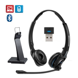 Sennheiser Bluetooth 4.0 Headsetwith Usb Stand, Binaural, Ultra Noise Cancelling Microphone, Talk Time Up To 15 Hours, Sennheiser HD Sound, With Usb D