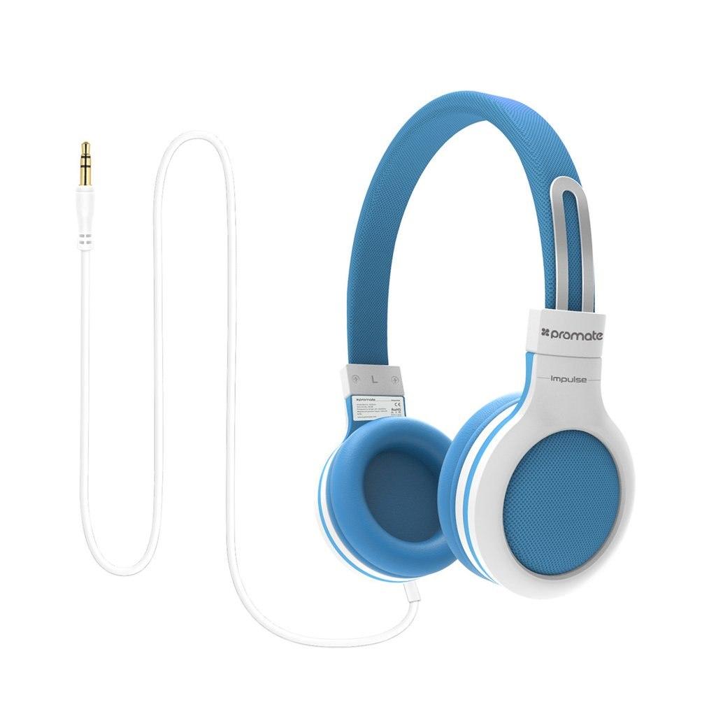 Promate 'Impulse' Kids Safe Universal On Ear Wired Headset-Blue