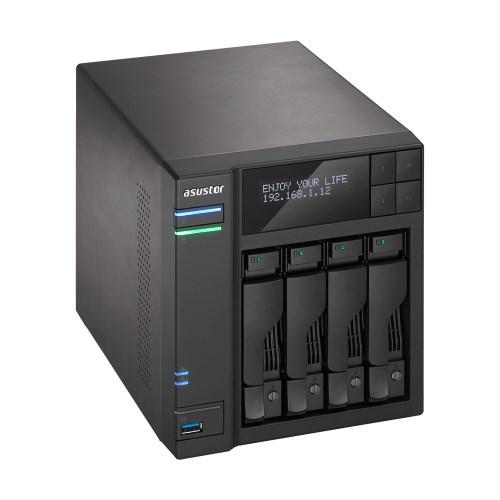 Asustor 4-Bay Nas, Intel Celeron Quad-Core, 8GB So-Dimm DDR3L, GbE X 2, Usb 3.0 Type A X3 & Usb 3.0 Type C X1, WoW, System Sleep Mode, Aes-Ni Encrypti