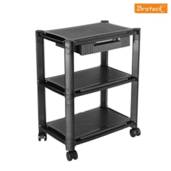 Brateck Height-Adjustable Smart Cart XL With Three-Shelves And Drawer 13''-32'' Monitors
