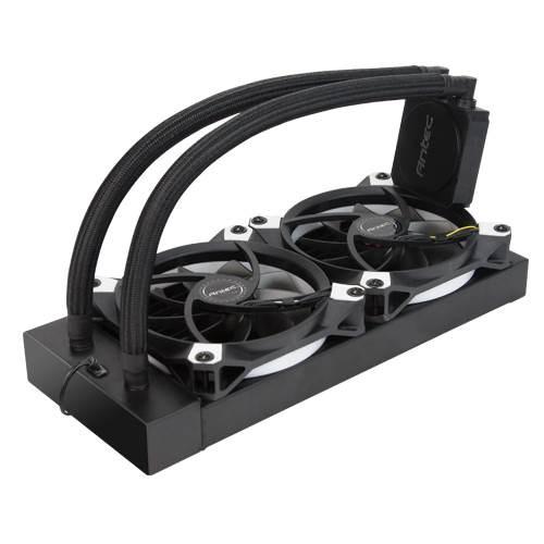 Antec Kuhler K240 Liquid Cpu Cooler, Low Profile, PWM Fan, Teflon Coated Tubing. Socket 2066, 2011, Am4, Am3, FMx.