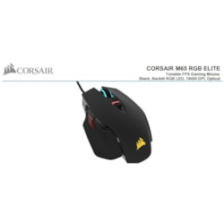 Corsair M65 RGB Elite Tunable FPS Gaming Mouse Black, 18000 Dpi, Optical, Icue Software.