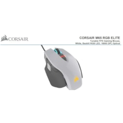 Corsair M65 RGB Elite Tunable FPS Gaming Mouse White With Black, 18000 Dpi, Optical, Icue Software.