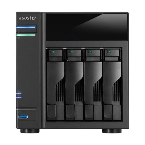 Asustor 4-Bay Nas, Hdmi, Intel Celeron Dual-Core, 2 GB So-Dimm DDR3L, GbE X 2, Usb 3.0 & Esata, WoL, System Sleep Mode, Aes-Ni Hardware Encryption