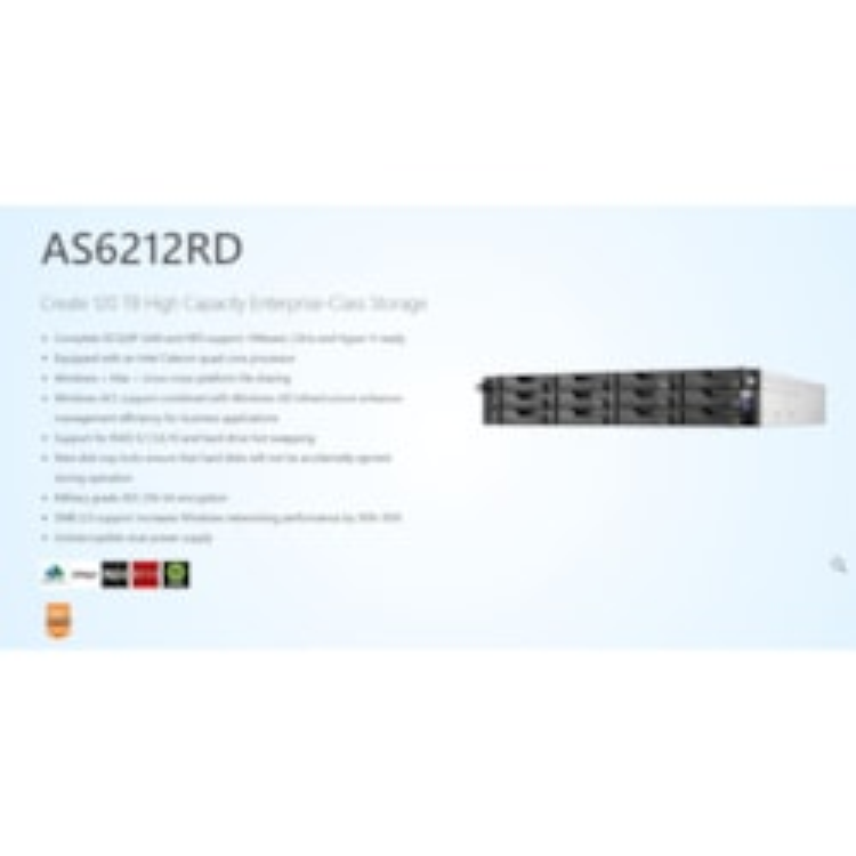Asustor 24 Bay 2U Rack Nas, Intel Celeron Quad-Core, 4GB So-Dimm DDR3L, GbE X 4, Usb 3.0 X 4, WoL, System Sleep Mode, Aes-Ni Hardware Encryption