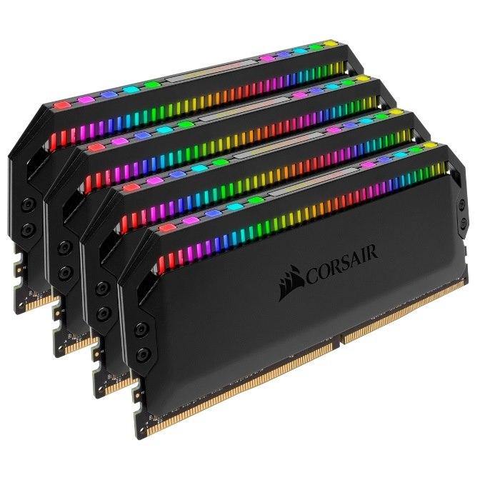 Corsair Dominator Platinum RGB 32GB (4x8GB) DDR4 3200MHz CL16 Dimm Unbuffered 16-18-18-36 XMP 2.0 Base SPD@2666 Black Heatspreaders 1.35V Amd Ryzen