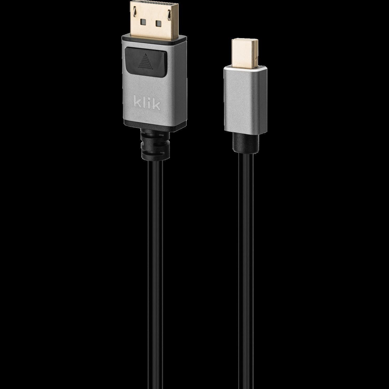 Klik 2MTR Mini DisplayPort Male To DisplayPort Male Cable