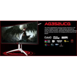 Aoc Agon 35' Va 4MS 120Hz 3440X1440 G-Sync Curved Gaming Monitor W/Has - Hdmi/Dp Speaker Height Adjust VESA100mm Black & Red